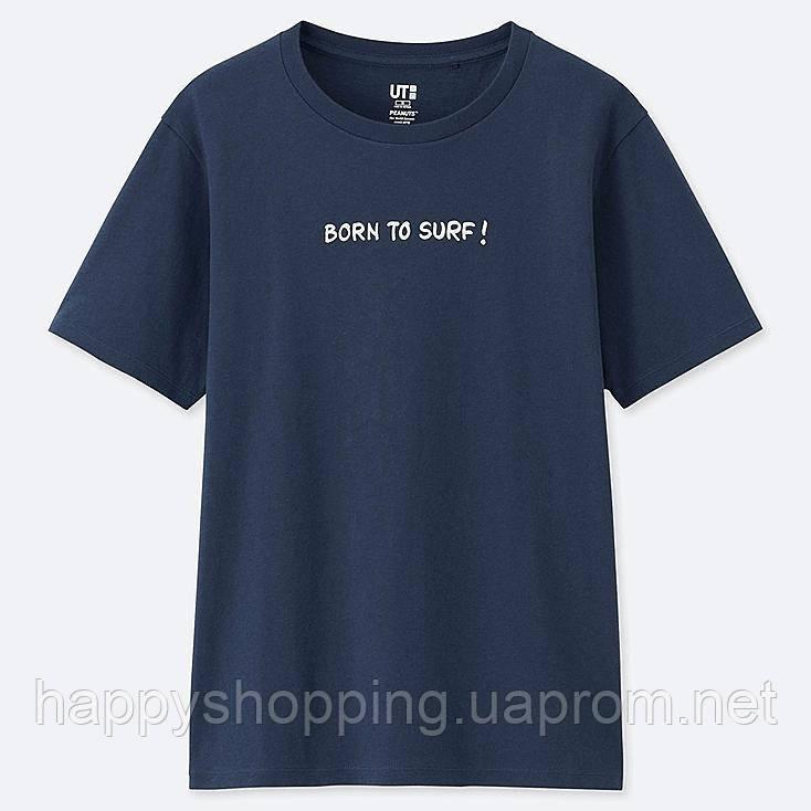 "Женская темно-синяя хлопковая футболка ""Peanuts"" Uniqlo"