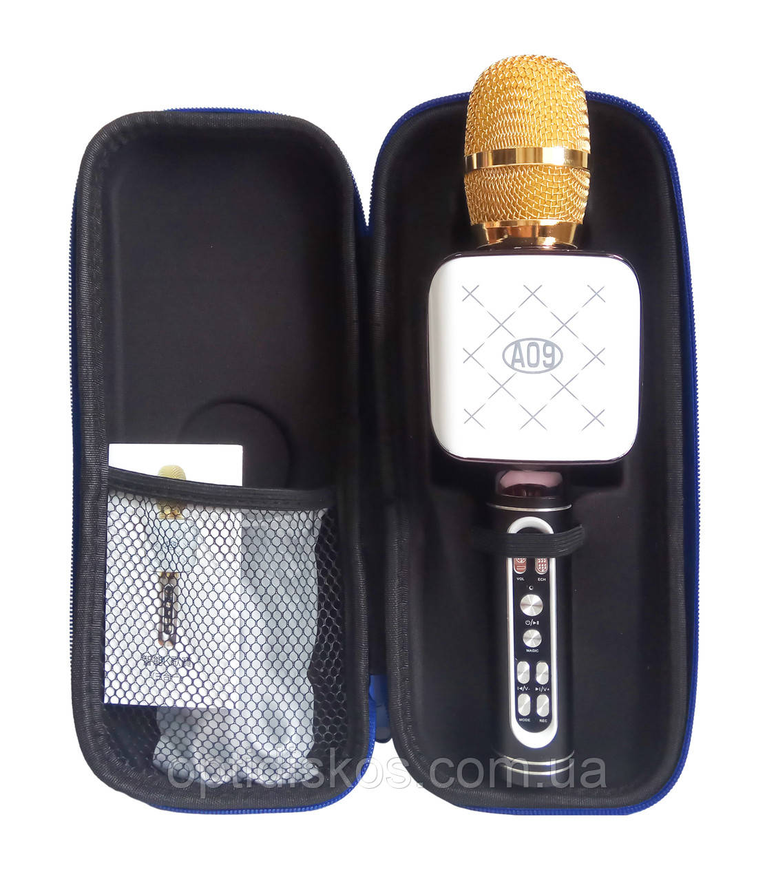 Беспроводной караоке микрофон - колонка A09 с футляром(фонограмма, запись, USB, microSD, AUX, FM, Bluetooth)
