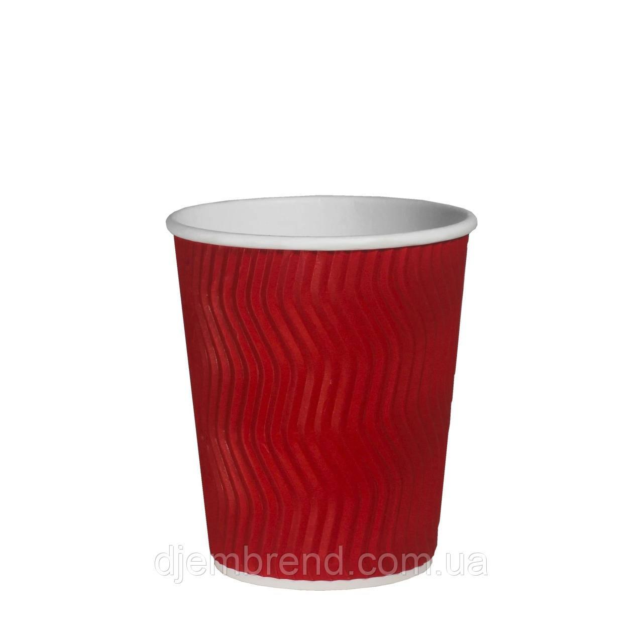 Стакан бумажный гофрированный Эко-гофра Красный 400мл. (12oz) 25шт/уп (1ящ/20уп/500шт) (ST90/РОМБ 90)