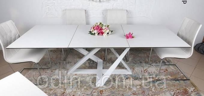 Стол Флитвуд Nicolas раскладной белый стекло сатин