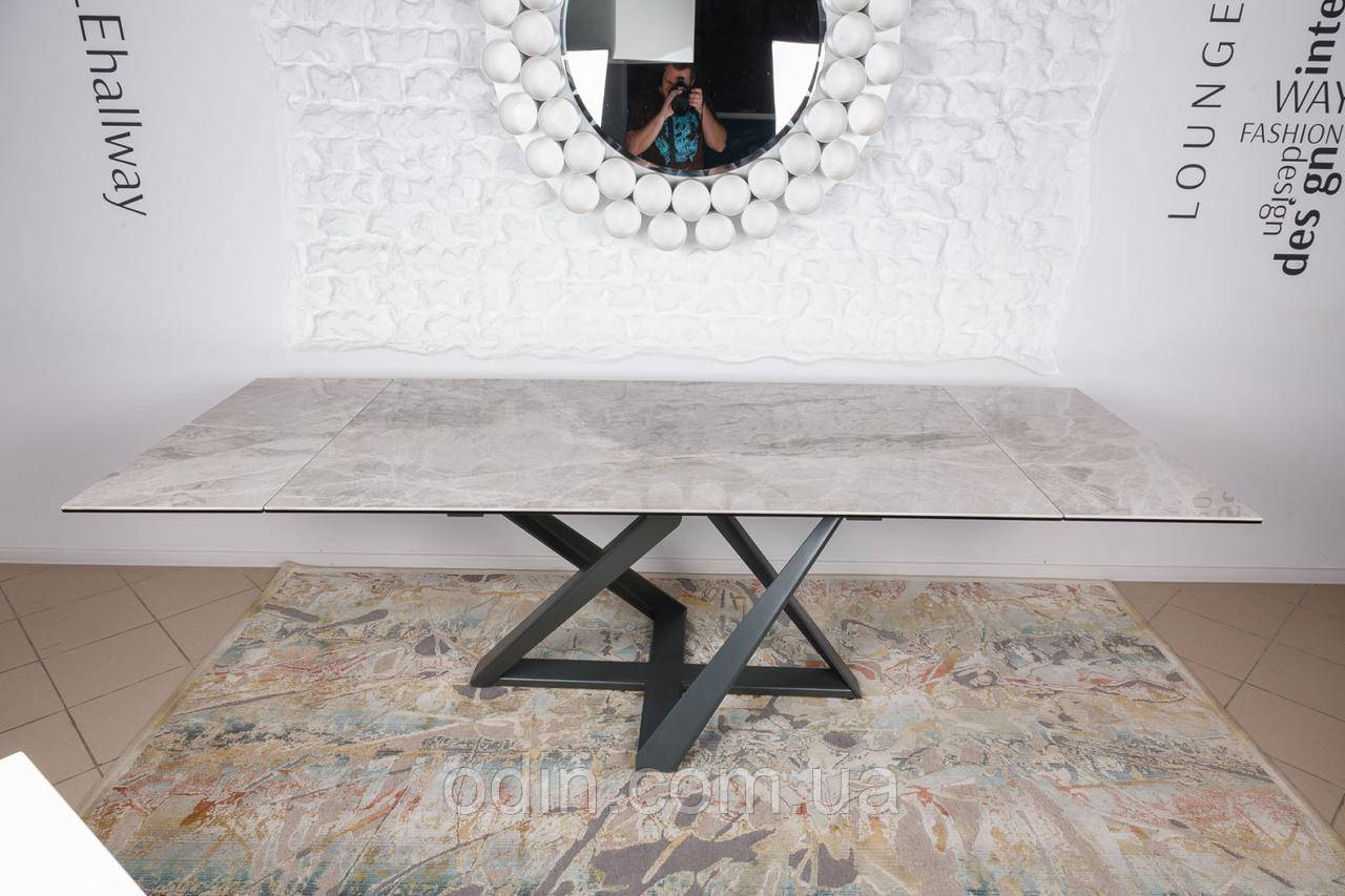 Стол Флитвуд Nicolas раскладной светло-серый глянец керамика