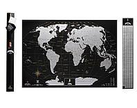 Скретч карта мира My Map Black edition Silver (английский язык) в тубусе (черная), фото 1