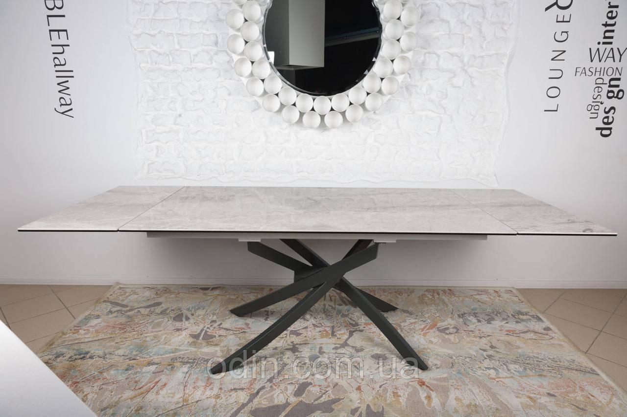 Стіл Лінкольн Nicolas розкладний кераміка світло-сірий глянець