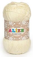 Пряжа Alize FOREVER молочый №01 микрофибра для ручного вязания, летняя