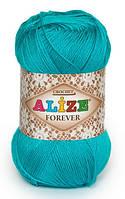 Пряжа Alize FOREVER бирюзовый №16 микрофибра для ручного вязания, летняя
