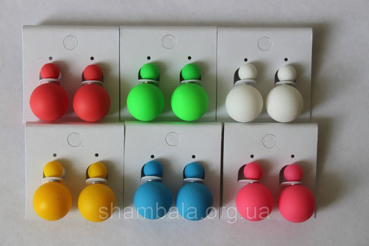 Пусеты матовые (шарики с двух сторон)