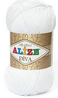 Пряжа Alize Diva белый №55 летняя для ручного вязания
