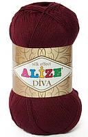 Пряжа Alize Diva бордовый №57 летняя для ручного вязания