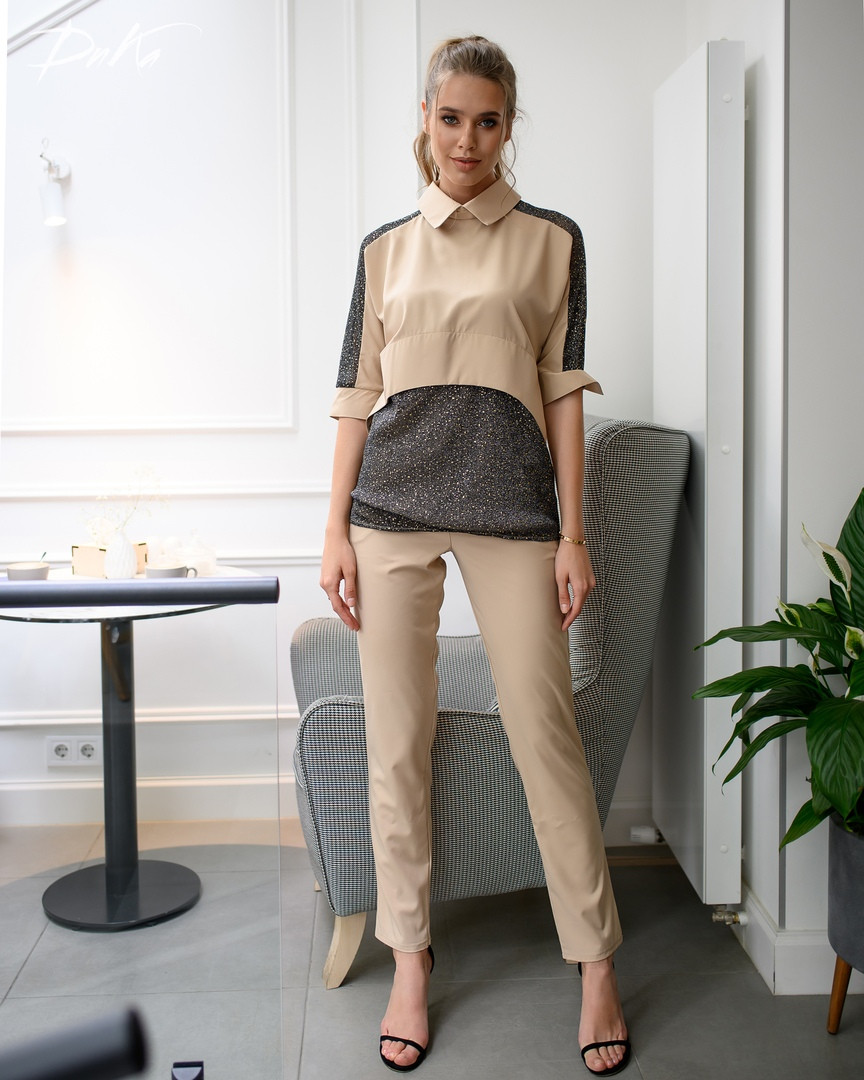 Костюм женский летний стильный брюки+блузка супер софт+стрейч сетка размеры:42-44,46-48,50-52,54-56