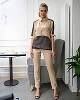 Костюм женский летний стильный брюки+блузка супер софт+стрейч сетка размеры:42-44,46-48,50-52,54-56, фото 1