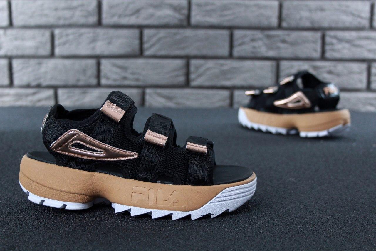 Женские сандалии Fila (черные)