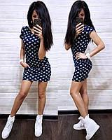 Короткое трикотажное платье с капюшоном, фото 1