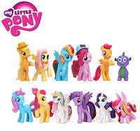 Набор фигурок Mой маленький пони My Little Pony 12 шт Искорка, Радуга, Селестия, Спайк, и другие