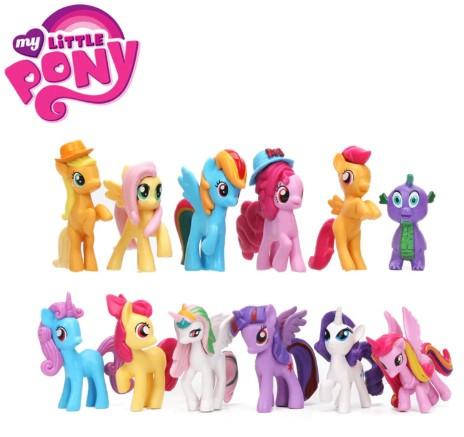 Набор фигурок Mой маленький пони My Little Pony 12 шт Искорка, Радуга, Селестия, Спайк, и другие, фото 1