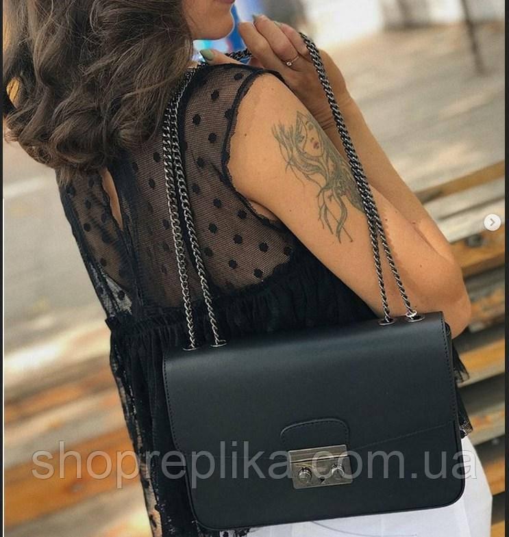 Чорна шкіряна сумка на ланцюжку жіноча Італія Сумка шкіряна через плече жіноча