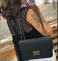 Чорна шкіряна сумка на ланцюжку жіноча Італія Сумка шкіряна через плече жіноча, фото 1