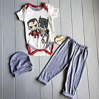 """Комплект для новорожденного """"Супергерои"""" (бодик+штанишки+шапочка) 62, 68 р-ры, фото 1"""