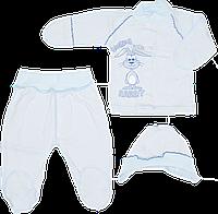 Костюм для новорожденного р. 56 с дырочками (на выписку): распашонка, штанишки, шапочка на завязках 2