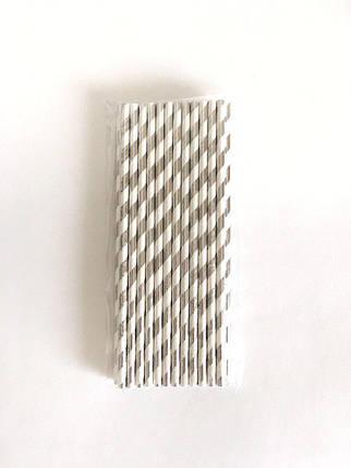 Трубочки бумажные белые с серебряными полосками, 25 шт, фото 2