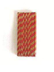 Трубочки бумажные красные с золотыми полосками, 25 шт