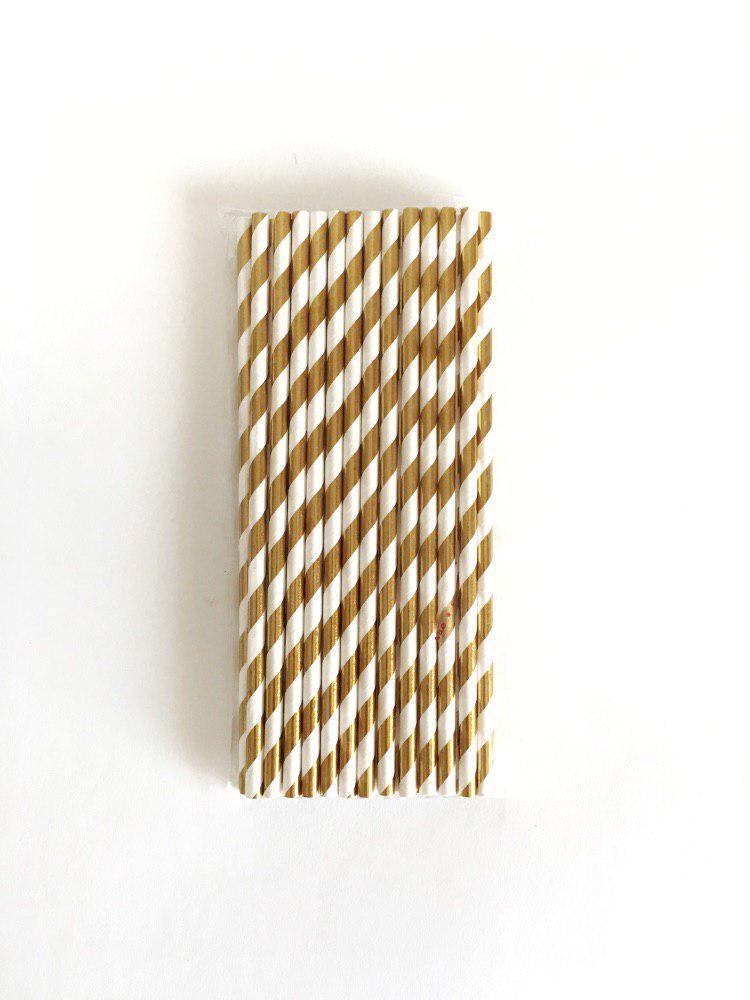 Трубочки бумажные белые с золотыми полосками, 25 шт
