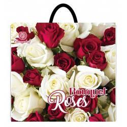 Полиэтиленовый пакет с пластиковой ручкой (сумка) ''Роза букет'' 380*340, 10 шт