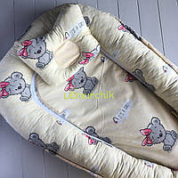 Гнездо-кокон для новорожденного 85Х40 см (подушка для беременной, подушка для кормления) Мишка желтый