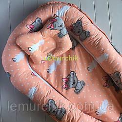 Гнездо-кокон для новорожденного 85Х40 см (подушка для беременной, подушка для кормления) Мишка персик