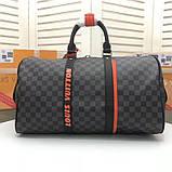 Дорожная сумка Луи Витон, канва Damier Cobalt 45 см, кожаная реплика, фото 4