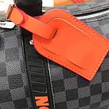 Дорожная сумка Луи Витон, канва Damier Cobalt 45 см, кожаная реплика, фото 6