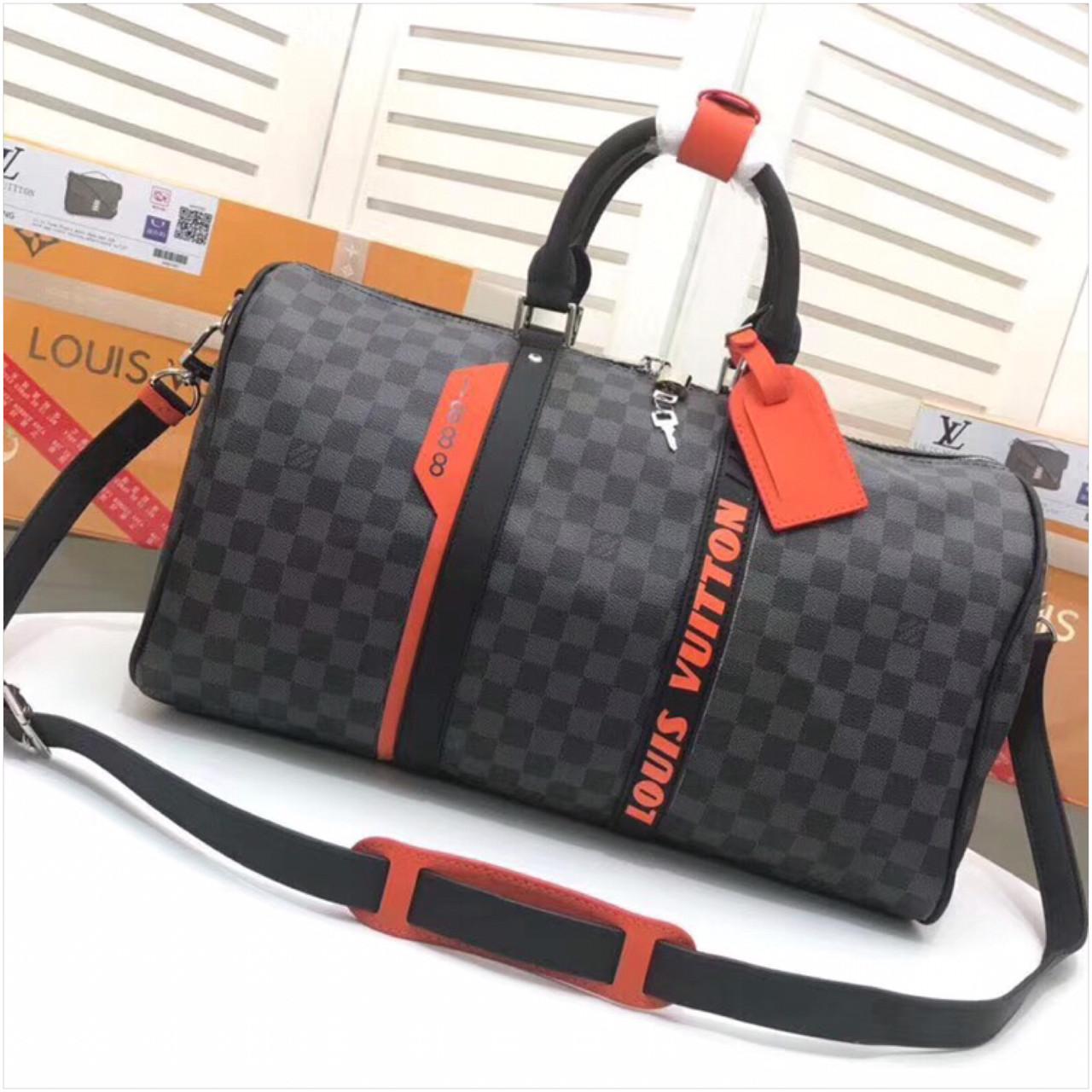 Дорожная сумка Луи Витон, канва Damier Cobalt 45 см, кожаная реплика