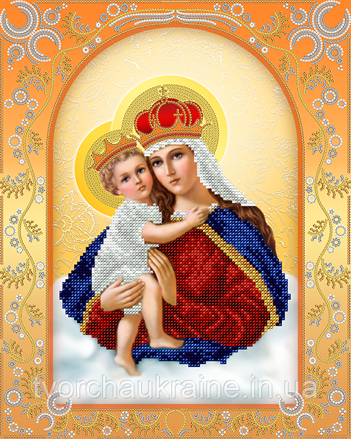 Схема для вышивки бисером Богородица с Младенцем