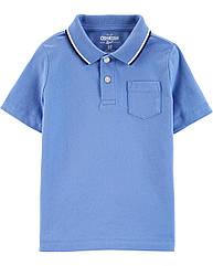 """Фирменная футболка-поло для мальчика OshKosh """"Классика"""" синяя однотонная с карманом на груди 4Т/98-105 см"""