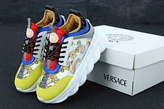 Женские кроссовки Versace Chain Reaction Sneakers White Blue Red. Версаче . ТОП Реплика ААА класса.