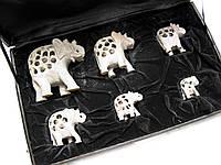 Слоны резные каменные (н-р 6 шт)