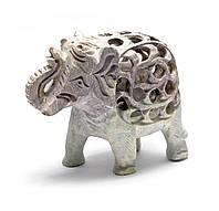"Слон каменный резной (10,5х12,х6 см)(4"")"