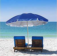 Зонт диаметром 2,2 м. Серебренное покрытие с уклоном. Цвет: Синий