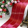 Атласная лента люкс с принтом Gucci, 2,5 см, бордовый