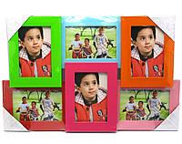 Мультирамка деревянная (6 фото)(фото 14х9 см)(50х32,5х3 см)(R-028)