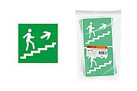 """Знак """"Направление к эвакуационному выходу (по лестнице направо вверх)"""" 150х150мм TDM"""