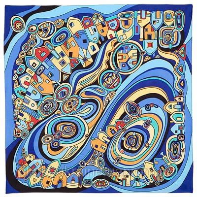 """Платок шелковый (атлас) Павлопосадский """"Солнечный город"""" рис. 1246-13 размер 89х89см."""