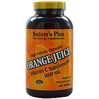Витамин С (Vitamin C) со вкусом апельсина Nature's Plus 1000 мг 60 жевательных таблеток