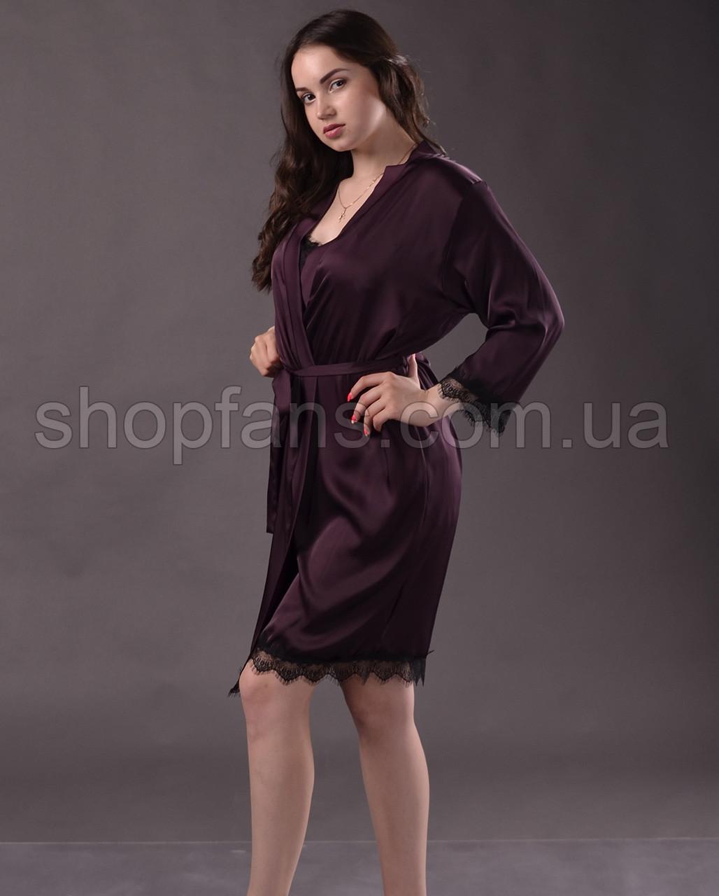 9739812ced4e Комплект женский ( пеньюар + халат ) из шелка Армани с французским кружевом  ...