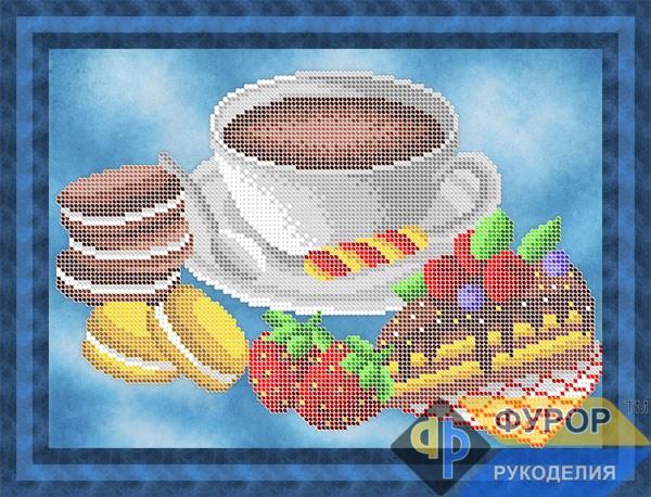 Схема для вишивки бісером картини Натюрморт кава та солодощі (НБч4-151)