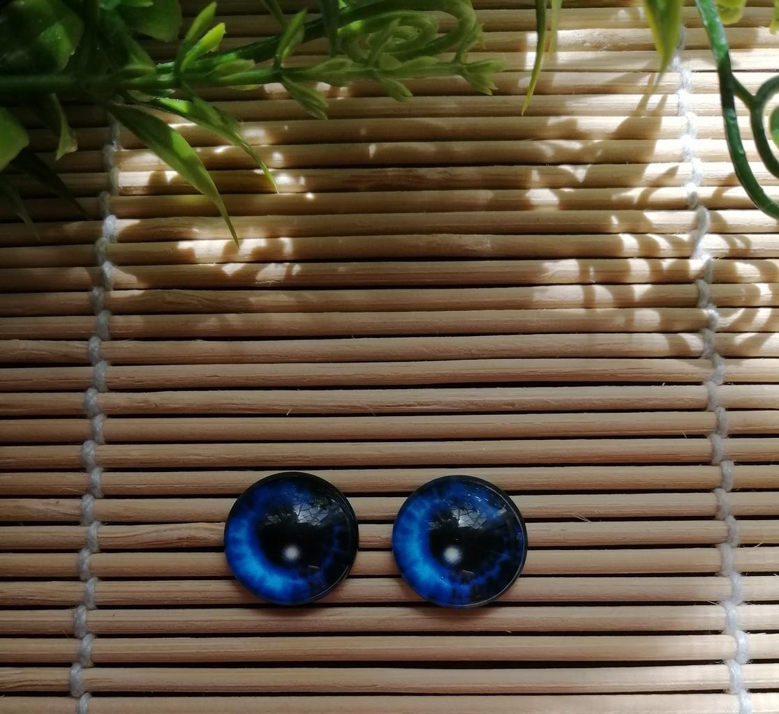 Глазки 14 мм синие