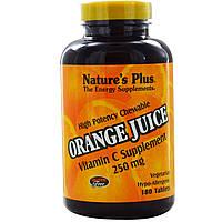 Витамин С (Vitamin C) со вкусом апельсина Nature's Plus 250 мг 180 жевательных таблеток