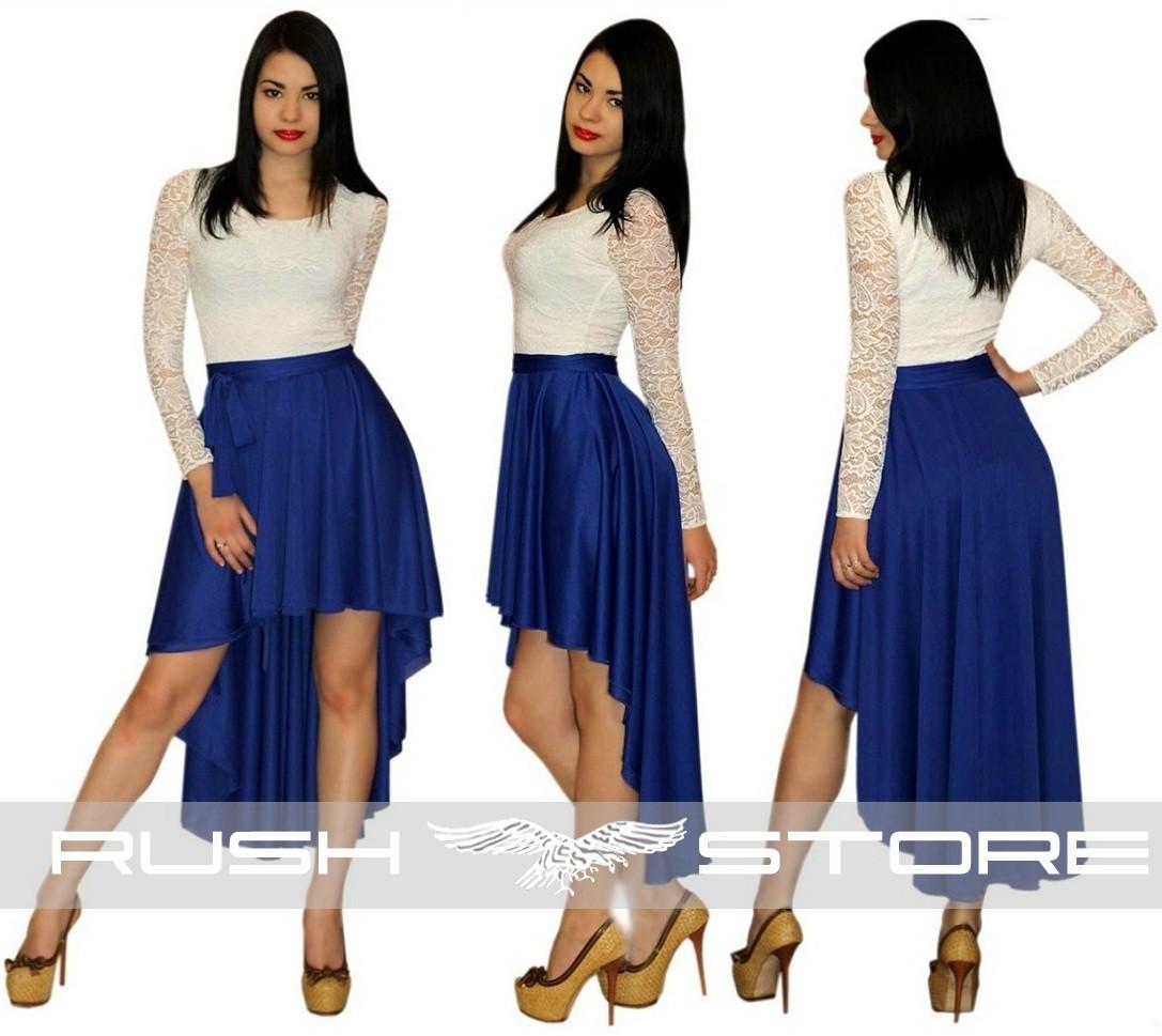 Асимметричное платье со шлейфом и гипюром