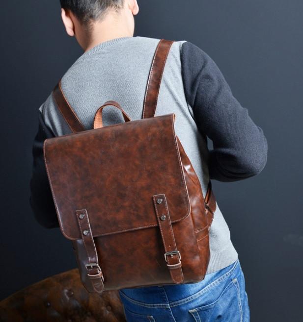 Кожаный мужской ретро рюкзак Коричневый
