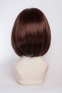 Искусственный парик на повязке №1,мелирование черный шоколад и каштан с яркой краснинкой