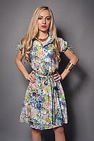 Стильное молодежное платье рубашка с поясом от производителя